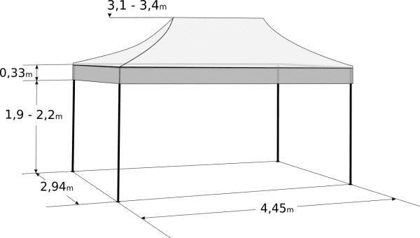 Nůžkový stan 3x4,5m - Profi hliníkový hexagon: Rozměry a parametry