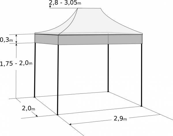 Nůžkový stan 3x2m ocelový: Rozměry a parametry