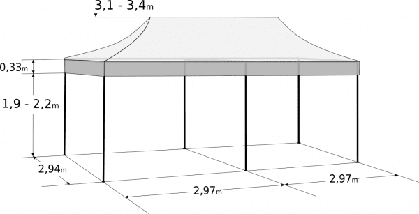 Nůžkový stan 3x6m hliníkový hexagon: Rozměry a parametry