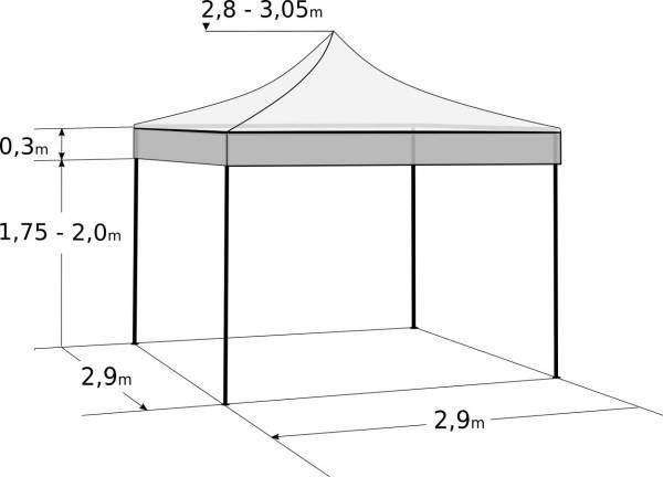 Nůžkový stan 3x3m hliníkový: Rozměry a parametry