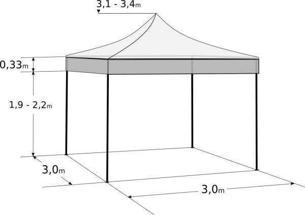 Nůžkový stan 3x3m - Profi hliníkový hexagon