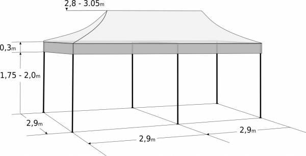 Nůžkový stan 3x6m ocelový: Rozměry a parametry