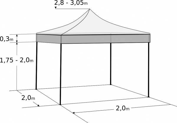 Nůžkový stan 2x2m ocelový: Rozměry a parametry