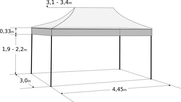 Nůžkový stan 3x4,5m hliníkový hexagon