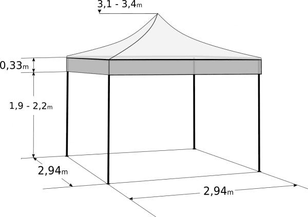 Nůžkový stan 3x3m - hliníkový hexagon: Rozměry a parametry
